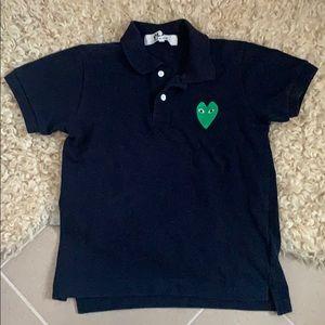 Comme des garçons green heart navy polo size xs-S